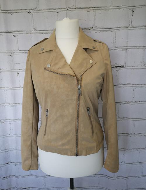 Escandelle - Faux Suede Jacket - Beige - Front