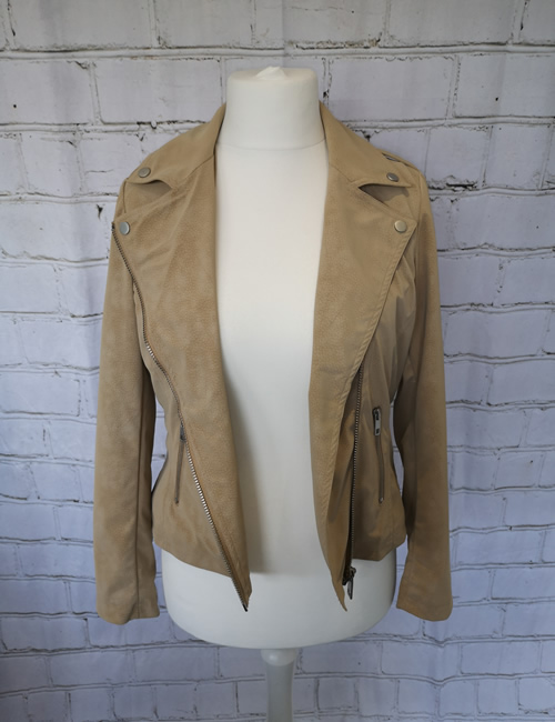 Escandelle - Faux Suede Jacket - Beige - Open