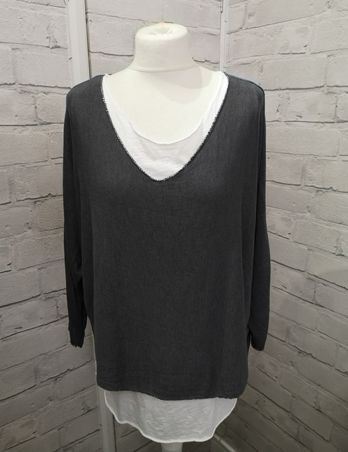 Made In Italy - Layered Top - Charcoal