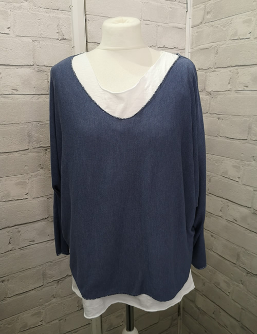 Made In Italy - Layered Top - Denim Blue