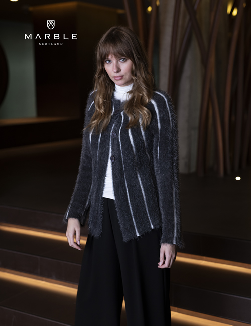 Marble - Charcoal Striped Cardigan - 5848-105