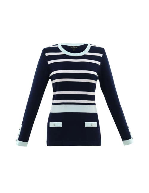 Marble - Contrast Stripe Jumper - Ice Green - 5830-188