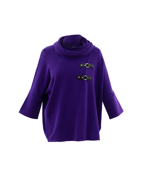 Marble - Knitted Roll Neck Buckle Jumper - Purple - 5868-187