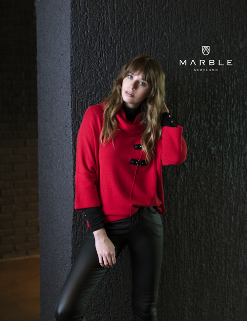 Marble - Knitted Roll Neck Buckle Jumper - Red - 5868-109