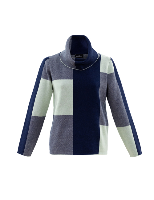 Marble - Roll Neck Colour Block Jumper - Blue Ice Green - 5904-188