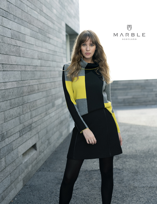 Marble - Roll Neck Colour Block Jumper - Yellow Black - 5904-189