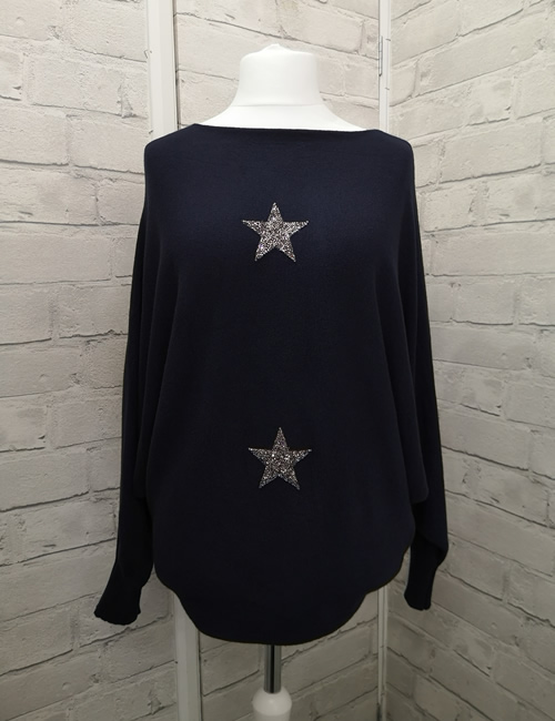 Nova - Sparkle Star Batwing Jumper - Navy Blue - Front