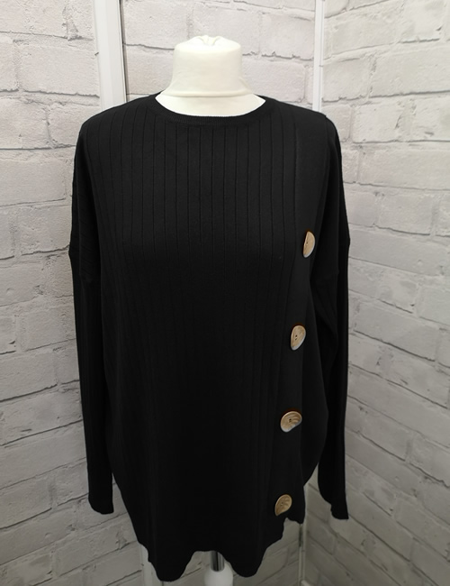 C.M.D.55 Collection - 4 Button Jumper - Black - Front