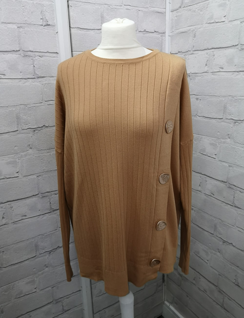 C.M.D.55 Collection - 4 Button Jumper - Camel