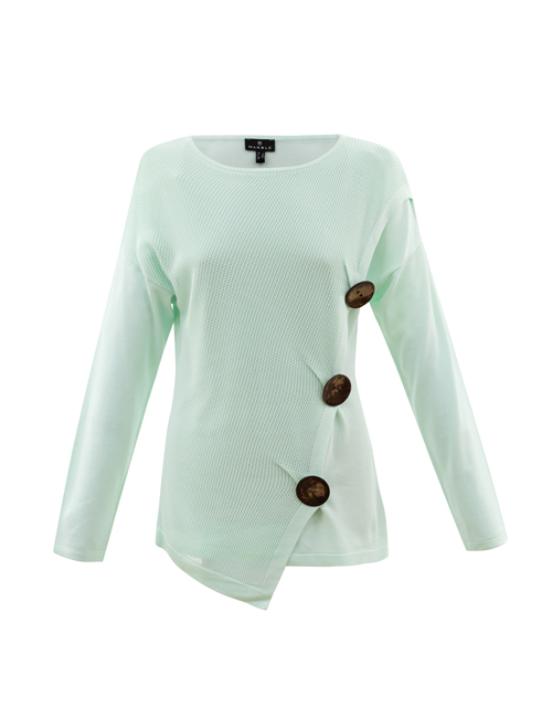 Marble - Round Neck Jumper with 3 Buttons - ice Green - 5820-188