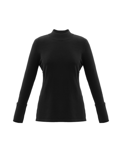 Marble - Round Neck Jumper with Button - Black - 5795-101