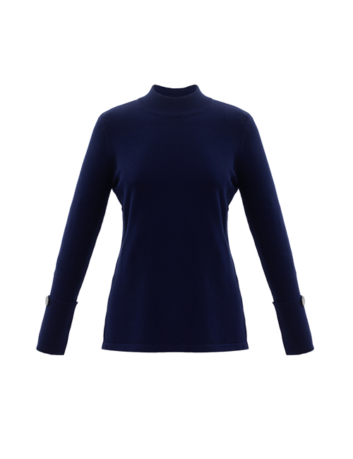 Marble - Round Neck Jumper with Button - Navy Blue - 5795-103