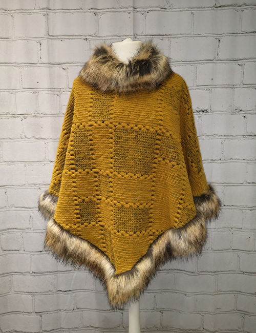 Eternity - Faux Fur Poncho - Mustard