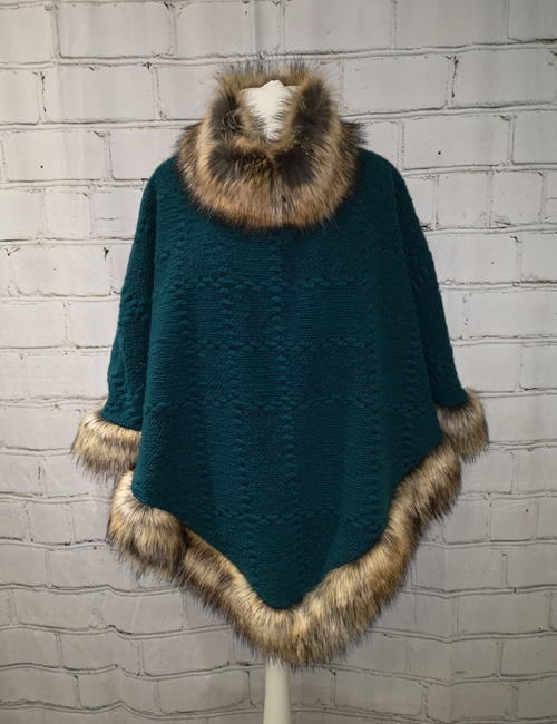 Eternity - Faux Fur Poncho - Teal