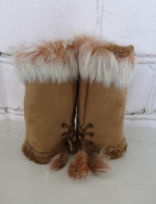 Gauntlet Faux Fur Gloves - Camel