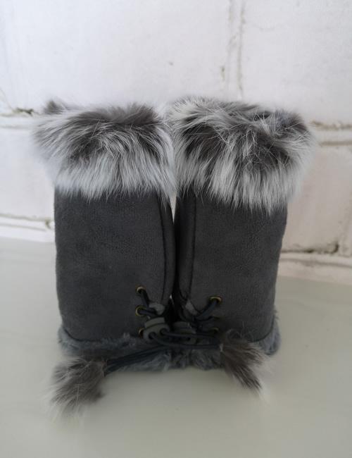 Gauntlet Faux Fur Gloves - Grey