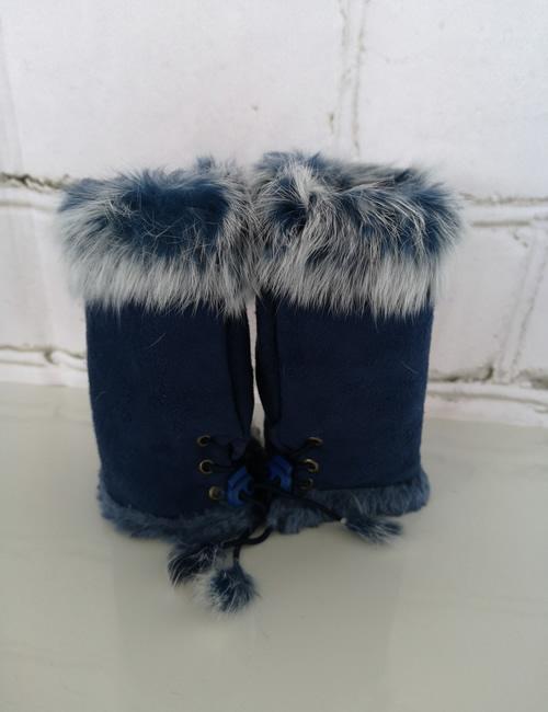 Gauntlet Faux Fur Gloves - Navy