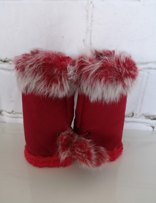 Gauntlet Faux Fur Gloves - Red - Front View