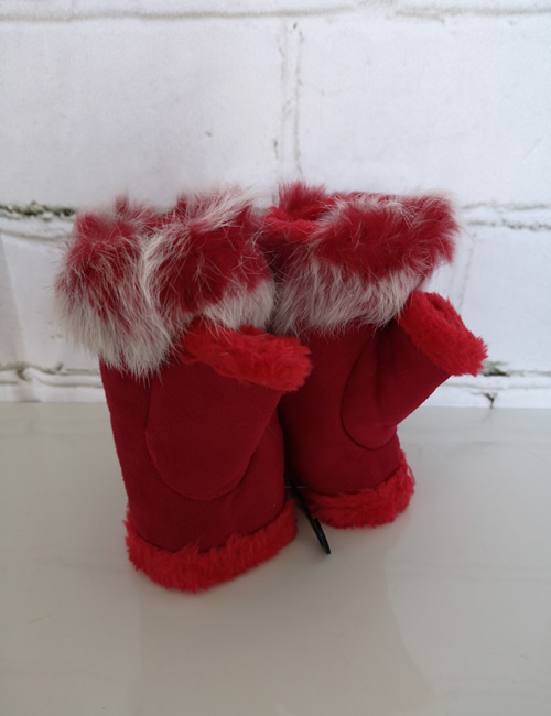 Gauntlet Faux Fur Gloves - Red - Thumb View