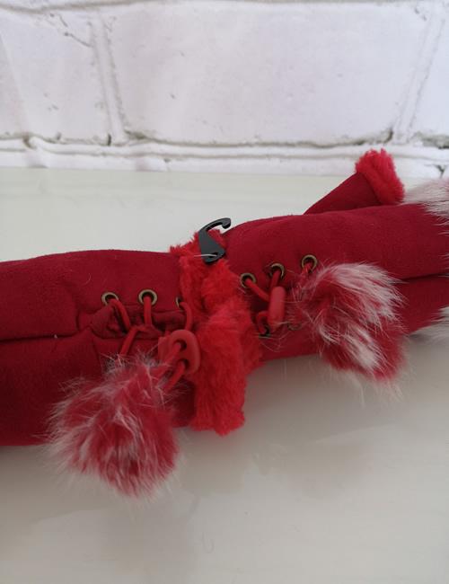 Gauntlet Faux Fur Gloves - Red - Wrist Adjustment