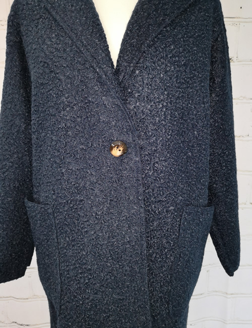 LVE Clothing - Teddy Bear Jacket - Navy Blue - Button