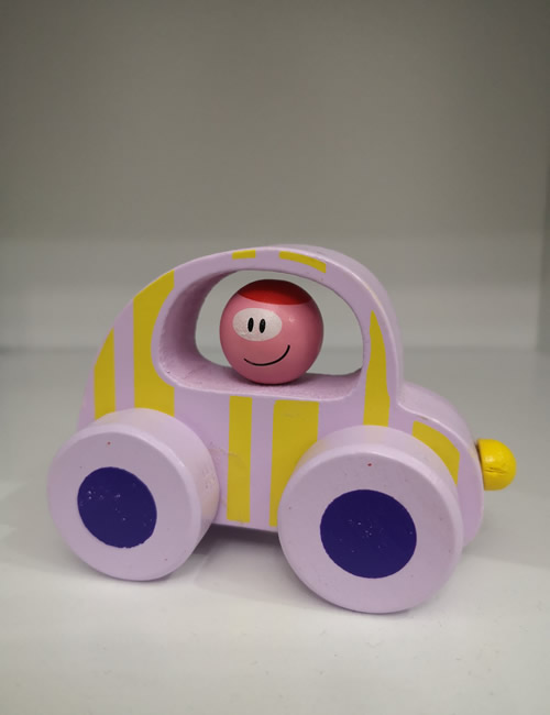 Lilac Wooden Car