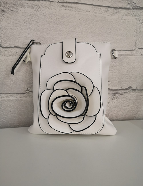 Milan Fashion - Flower Crossbody - White - Front