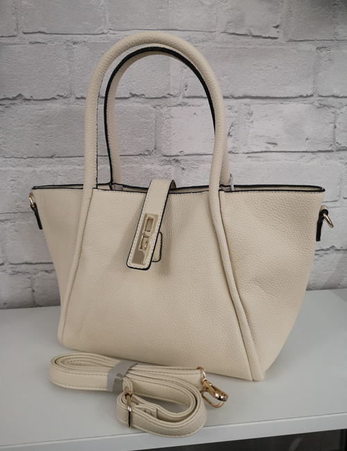 Milan Fashion - Handbag - Cream - With shoulder strap