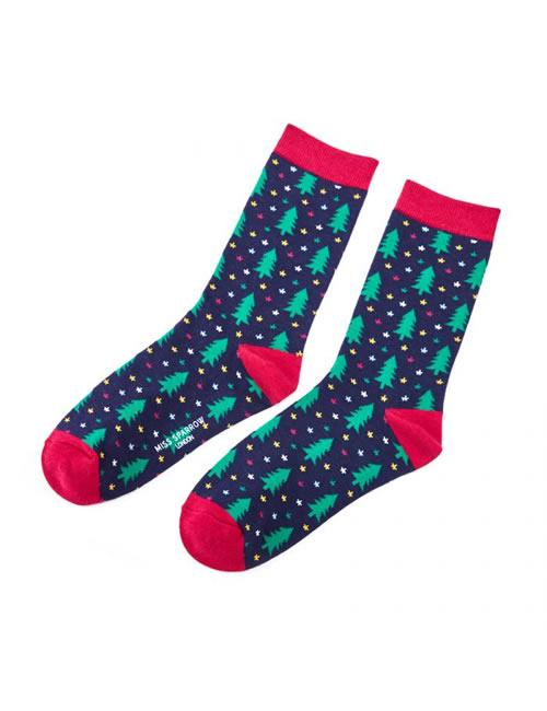 Miss Sparrow - Christmas Tree Socks Navy