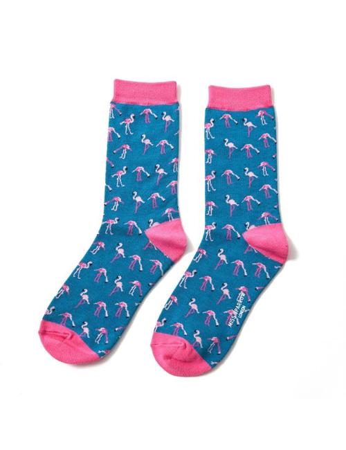 Miss Sparrow - Flamingos Socks Denim Blue