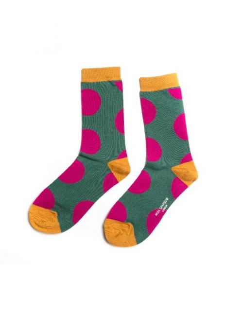 Miss Sparrow - Oversizes Polka Dot Socks Dark Green