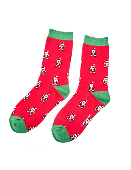 Miss Sparrow - Pixel Santa Socks Red