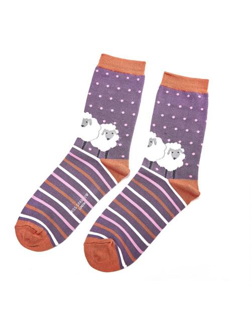 Miss Sparrow - Sheep Friends Socks Purple