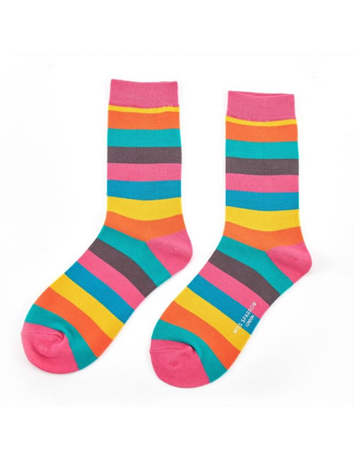 Miss Sparrow -Thick Stripes Socks Bright