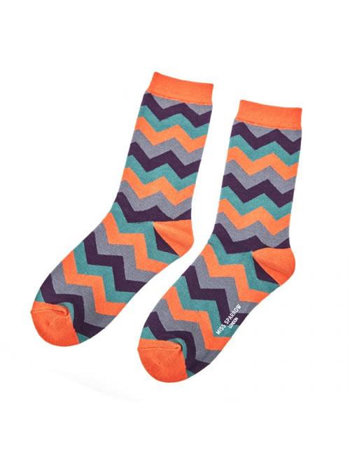Miss Sparrow - Zig Zag Socks Orange