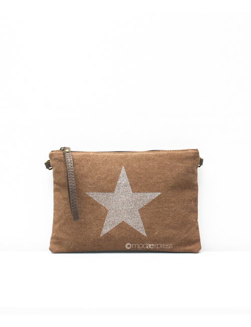 Moda - Leather Canvas Sparkly Star Clutch Bag - Brown