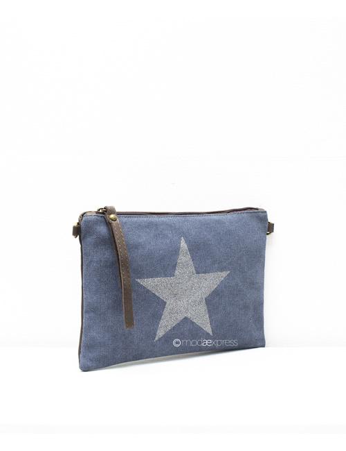 Moda - Leather Canvas Sparkly Star Clutch Bag - Denim Blue - Side
