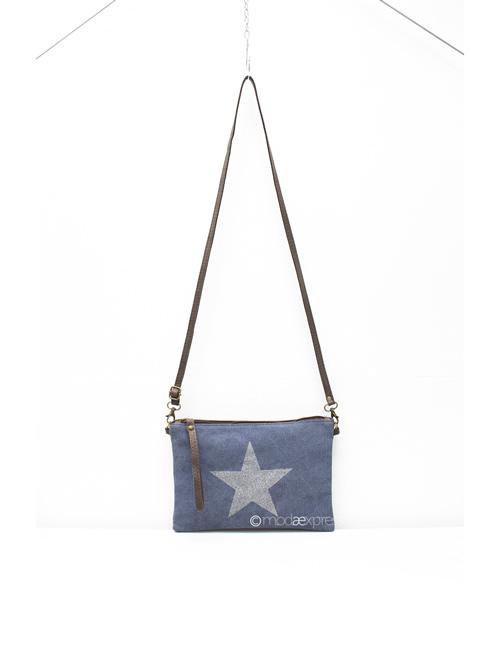 Moda - Leather Canvas Sparkly Star Clutch Bag - Denim Blue - Strap