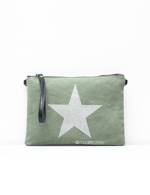 Moda - Leather Canvas Sparkly Star Clutch Bag - Green