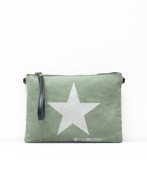 Moda - Leather Canvas Sparkly Star Clutch Bag - Green