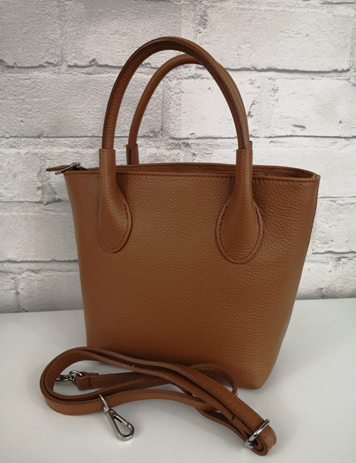 Moda - Leather Grab Bag - Tan - with shoulder strap