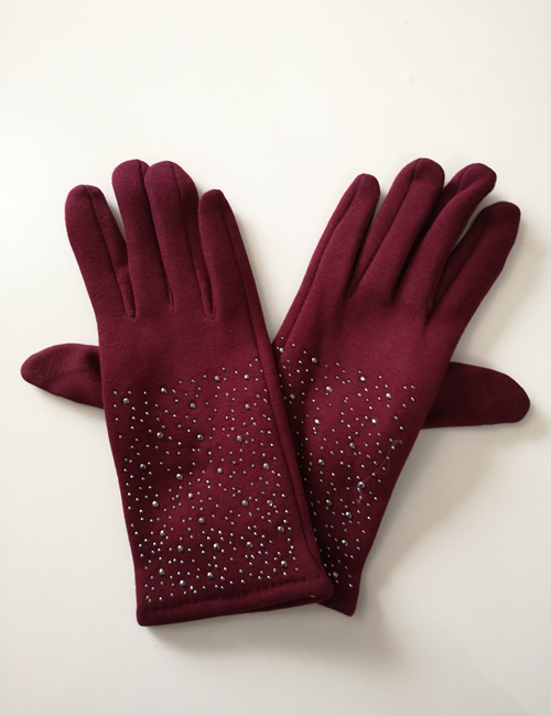 Moda - Sparkly Gloves - Claret