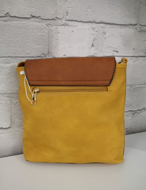 Milan Fashion - 3 Colour Shoulder Bag - Mustard - Back
