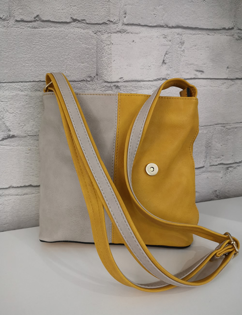 Milan Fashion - 3 Colour Shoulder Bag - Mustard - Strap