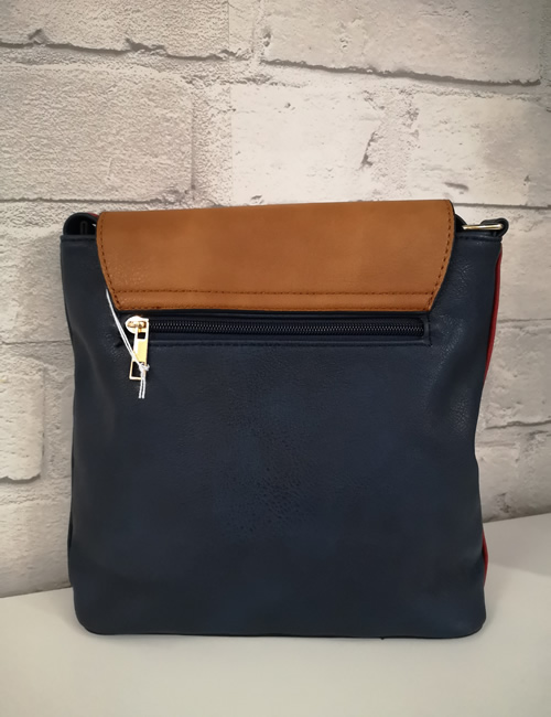 Milan Fashion - 3 Colour Shoulder Bag - Navy - Back