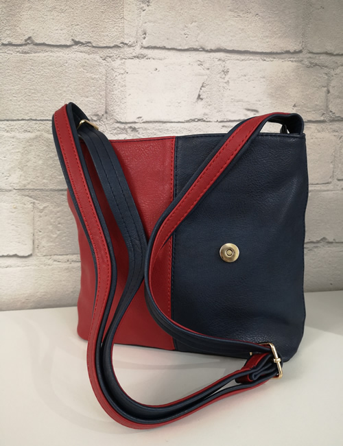 Milan Fashion - 3 Colour Shoulder Bag - Navy - Strap