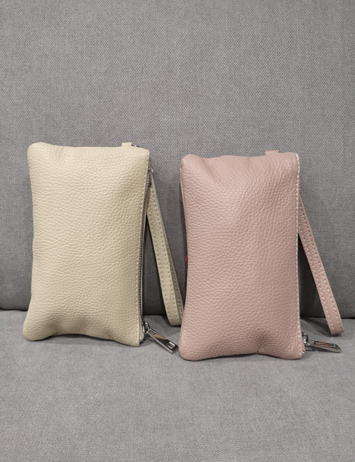 Moda - Small Leather Pouches with Flowers - Beige and Salmon Pink - Back