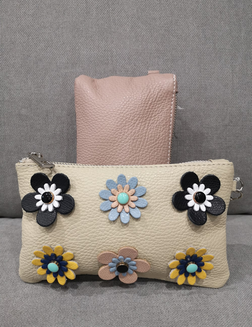 Moda - Small Leather Pouches with Flowers - Beige and Salmon Pink - Front and Back