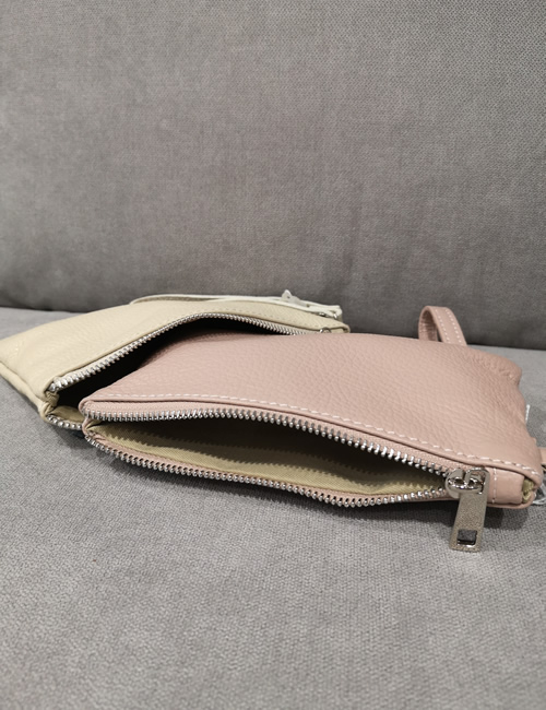 Moda - Small Leather Pouches with Flowers - Beige and Salmon Pink - Zip