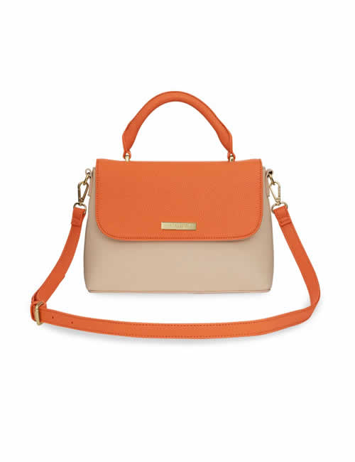 Katie Loxton - Talia Two Tone Messenger Bag - Burnt Orange and Tan - Front